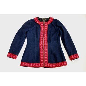 70s Boho Wool Ski Jacket Navy Blue Red Pink Bow